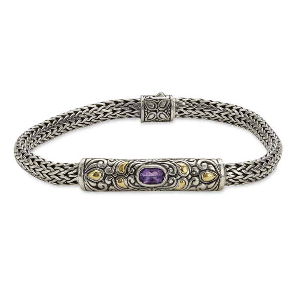 Amethyst Sterling Silver Woven Bracelet with 18K Gold Accents
