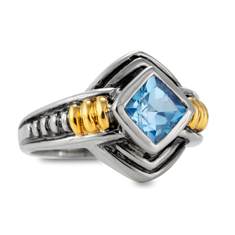 Blue Topaz Sterling Silver Ring with 14K Gold Accents