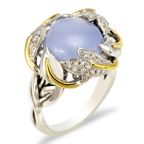 Diamond and Chalcedony Sterling Silver Ring with 18K Gold Accents