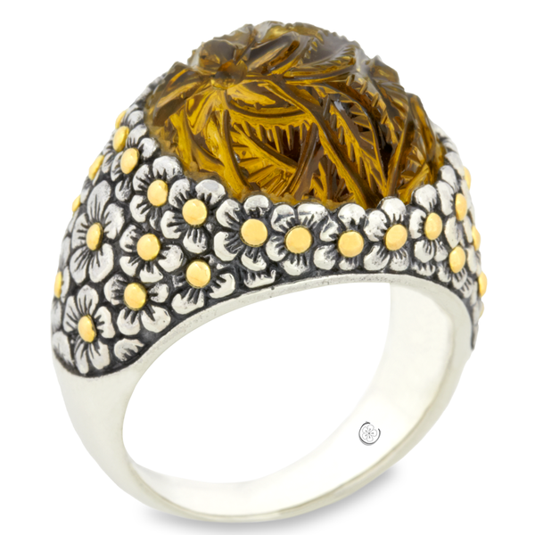 "Carved Citrine Gemstone Ring Set in Silver & 18K Yellow Gold Accents ""Margret"""