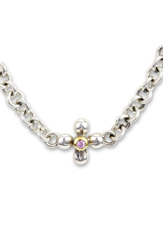 Pink Sapphire Necklace Set in Sterling Silver & 18K Gold Accents