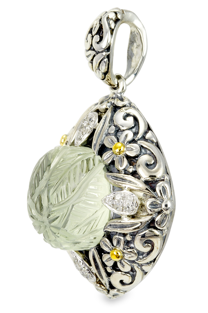 "Diamond and Carved Green Amethyst Sterling Silver Pendant with 18K Gold Accents ""Emma"""