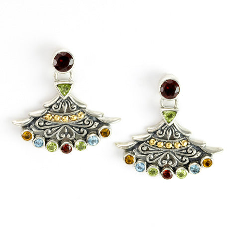 Multi Gemstone Sterling Silver Earrings with 18K Gold Accents