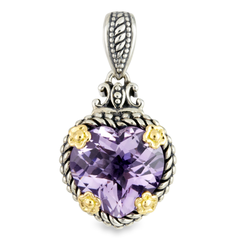Pink Amethyst Pendant Set in Sterling Silver & 18K Gold Accents