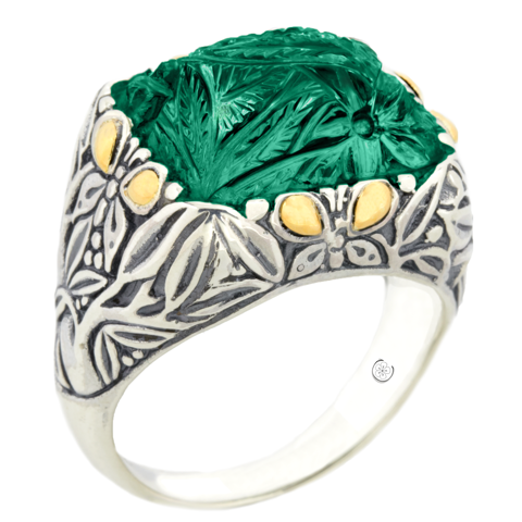 "Carved Green Onyx Sterling Silver Ring with 18K Gold Accents ""Gwen"""