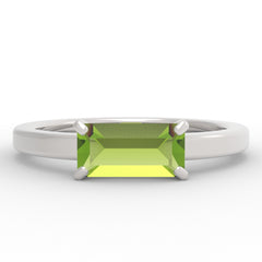 Peridot Baguette 14K White Gold Ring
