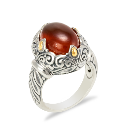Orange Chalcedony Sterling Silver Ring with 18K Gold Accents