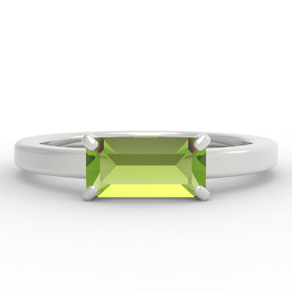 Peridot Baguette Sterling Silver Ring