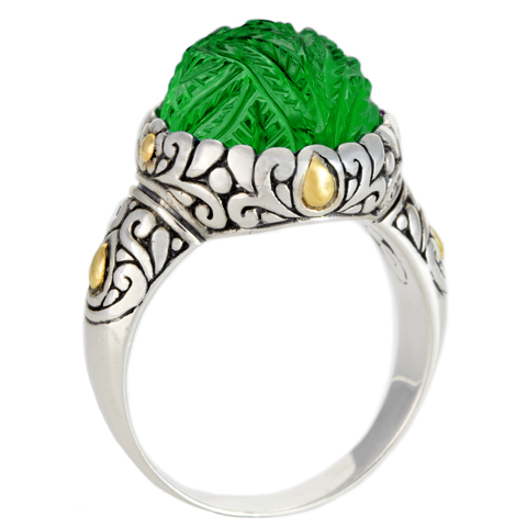 "Carved Green Onyx Sterling Silver Ring with 18K Gold Accents ""Darlene"""