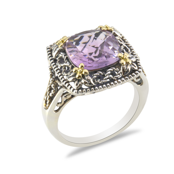 Pink Amethyst Sterling Silver Ring with 18K Gold Accents