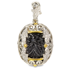 Diamond Accented Carved Hematite and White Crystal Doublet Sterling Silver Pendant with 18K Gold Accents