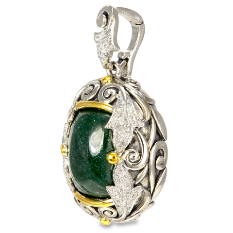 Diamond Accented Green Jade Sterling Silver Pendant with 18K Gold Accents