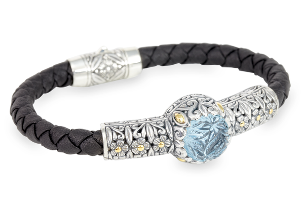 "Carved Blue Topaz Bracelet Set in Sterling Silver, 18K Gold Accents & Woven Leather ""Janet"""