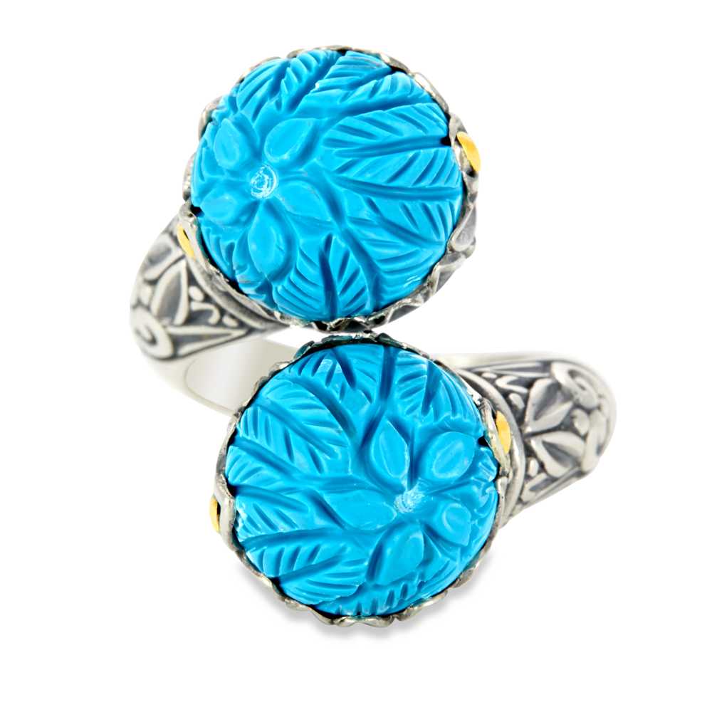"Carved Turquoise Ring Set in Sterling Silver & 18K Gold Accents ""Lexi"""