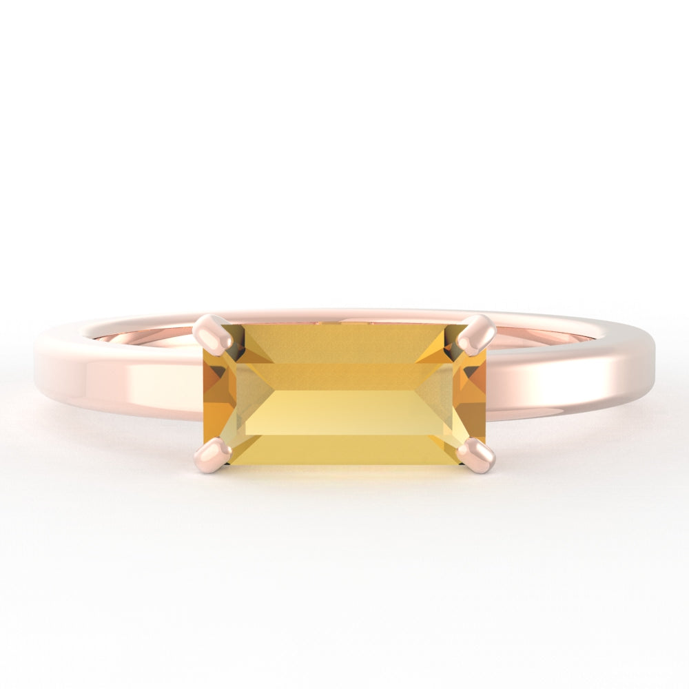 Citrine Baguette 14K Rose Gold Ring