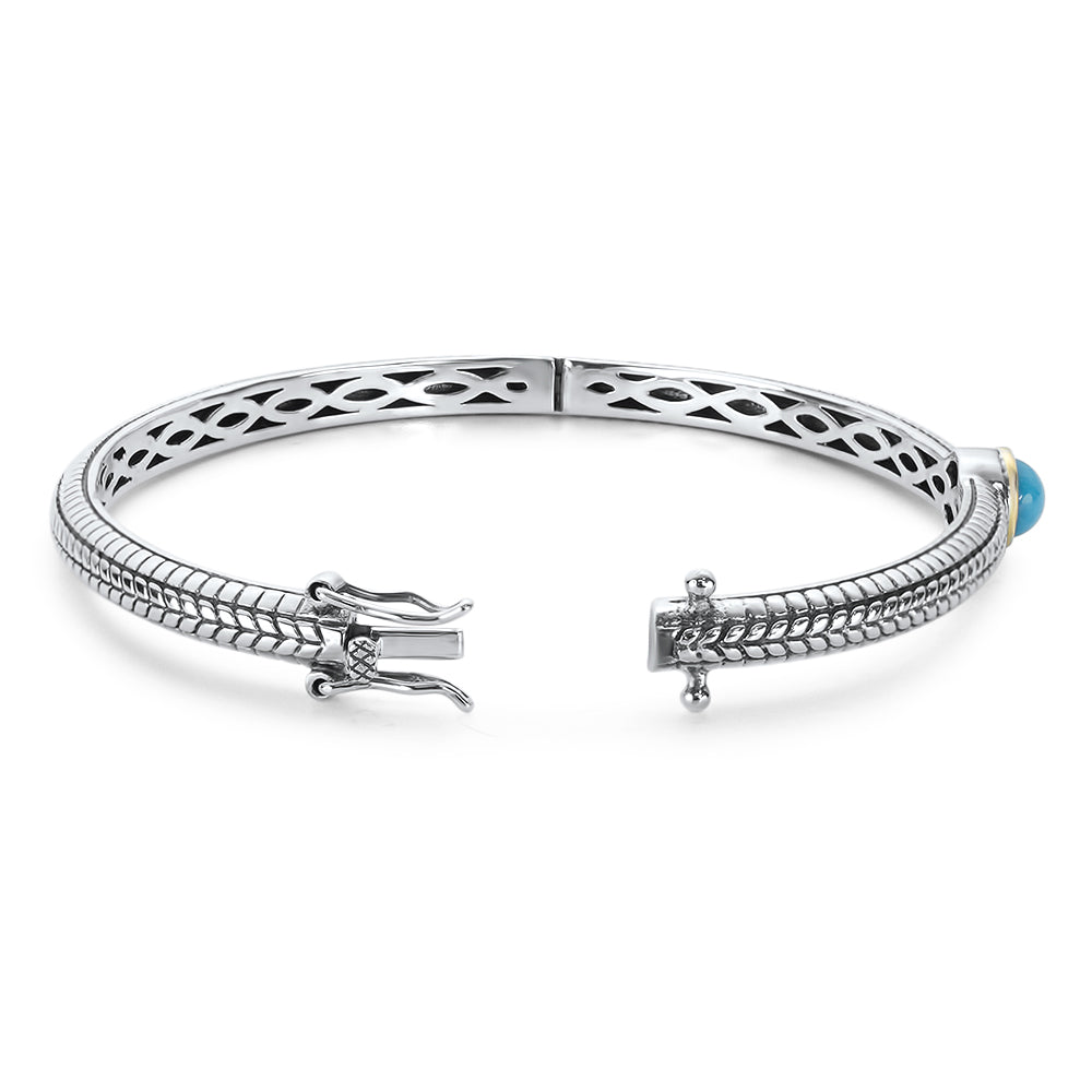 Sleeping Beauty Turquoise Bangle Set in Sterling Silver & 18K Gold Accents