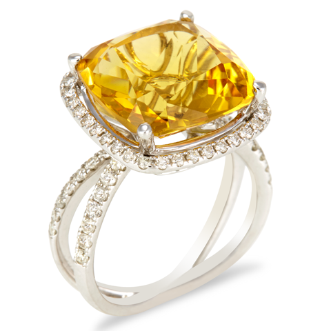 "14K White Gold Diamond and Citrine Ring ""Brenda"""