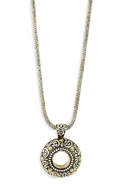 """Eternal Circle"" Sterling Silver Necklace with 18K Gold Accents"