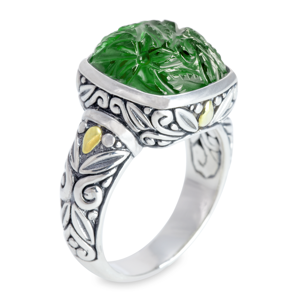 "Carved Green Malachite Sterling Silver Ring with 18K Gold Accents ""Scarlett"""