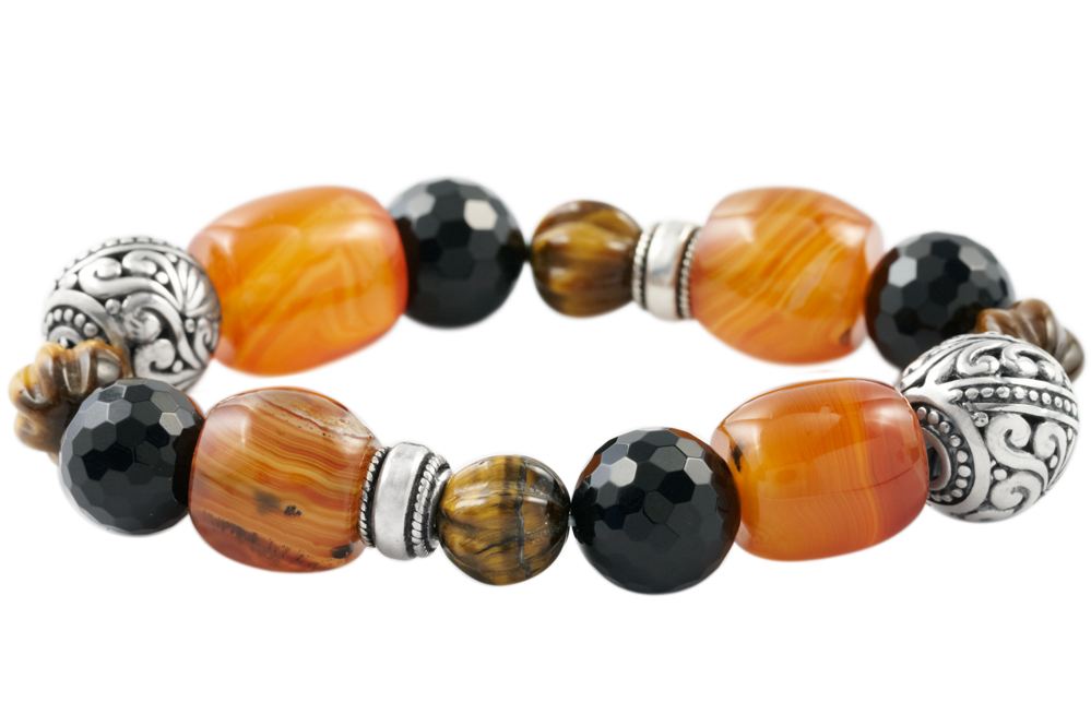 Black Onyx, Tiger Eye and Carnelian Sterling Silver Bracelet