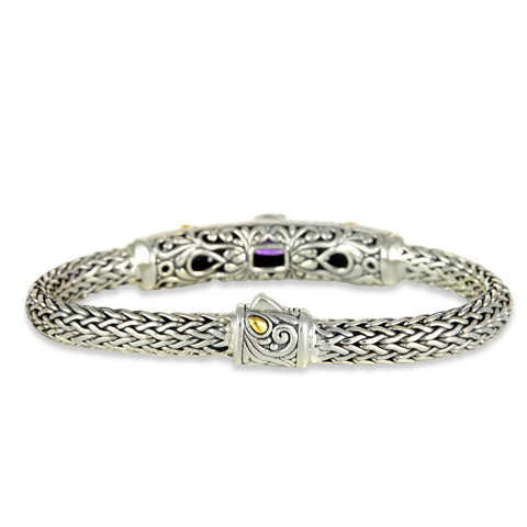 Amethyst and Peridot Sterling Silver Woven Bracelet with 18K Gold Accents