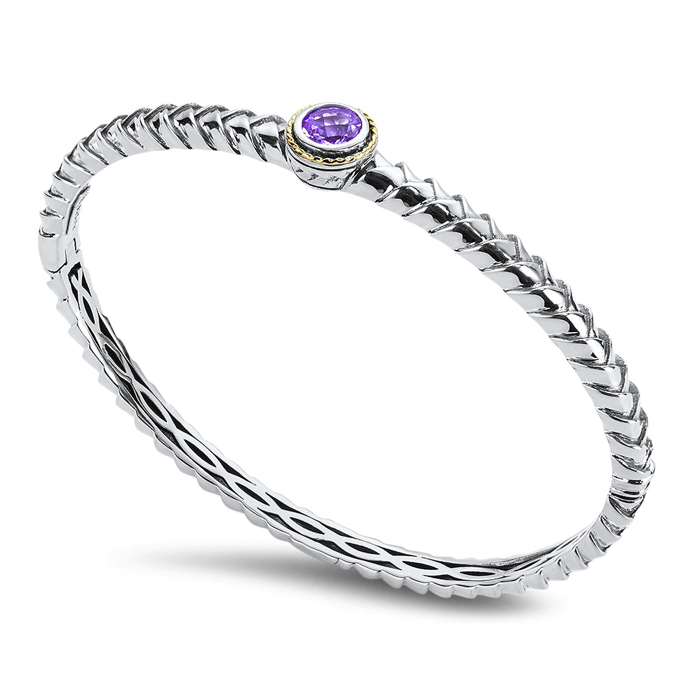 Amethyst Sterling Silver Bangle with 18K Gold Accents