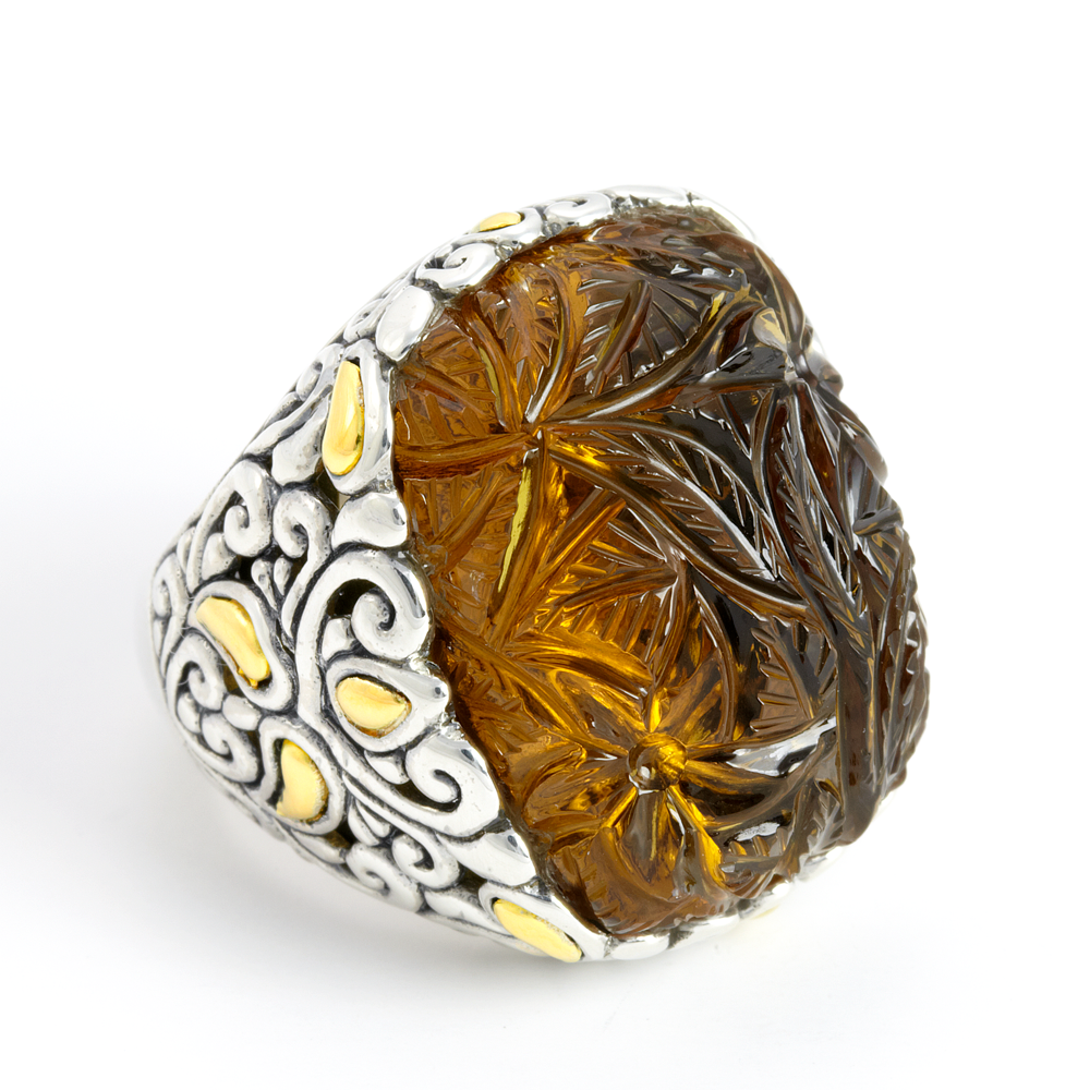 Carved Cognac Quartz Sterling Silver Ring with 18K Gold Accents