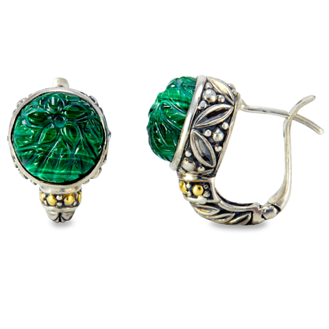 "Carved Green Malachite Sterling Silver Earrings & 18K Gold Accents ""Christina"""