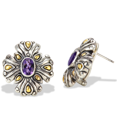 Amethyst Sterling Silver Earrings with 18K Gold Accents