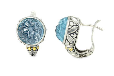 "Carved Blue Topaz Sterling Silver Earrings with 18K Gold Accents ""Christina"""
