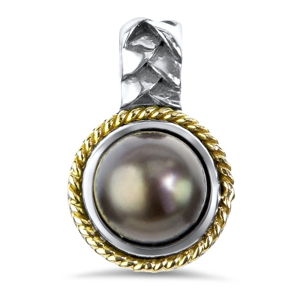 Black Pearl Sterling Silver Pendant with 18K Gold Accents
