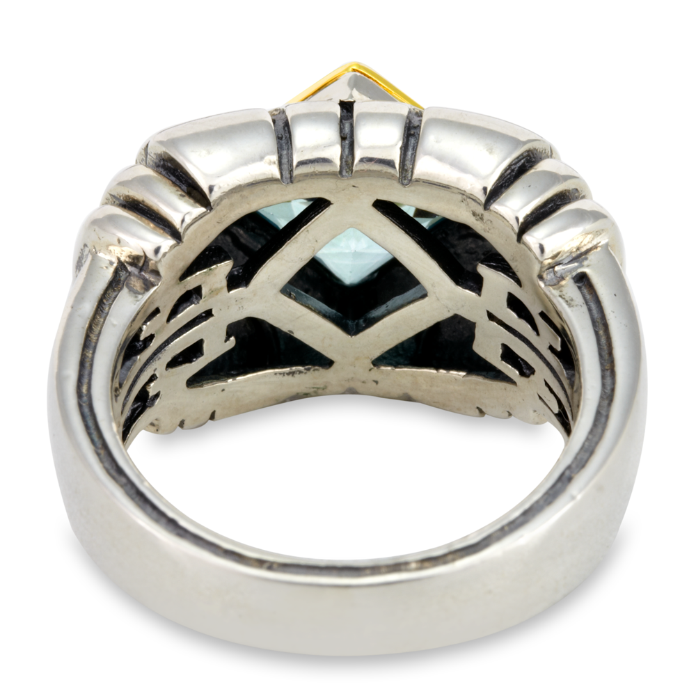 Blue Topaz Ring Set in Sterling Silver & 18K Gold Accents