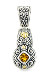 Citrine Pendant Set in Sterling Silver & 18K Gold Accents