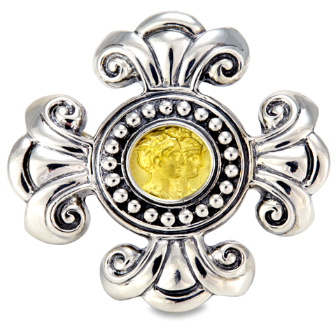 Sterling Silver and 18K Gold Brooch