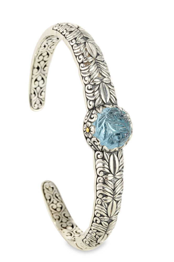 "Carved Blue Topaz Bangle Set in Sterling Silver & 18K Gold Accents ""Megan"""