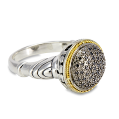 Black Diamond Sterling Silver Ring with 18K Gold Accents