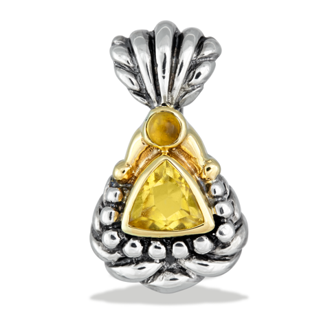 Citrine Sterling Silver Pendant with 14K Gold Accents