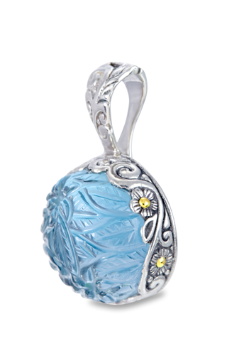 Carved Blue Topaz Sterling Silver Pendant with 18K Gold Accents