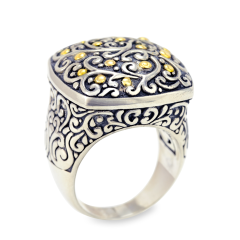 "Silver and Yellow Gold Accent Scroll Design Ring ""Cynthia"""