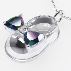 14K White Gold Diamond and Alexandrite Baby Shoe Pendant