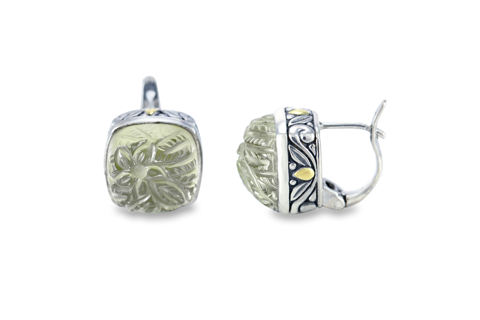 Carved Green Amethyst Sterling Silver Earrings with 18K Gold Accents
