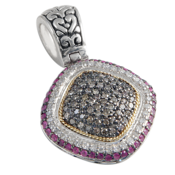 Pink Sapphire, White & Black Diamond Pendant Set in Sterling Silver & 18K Gold Accents