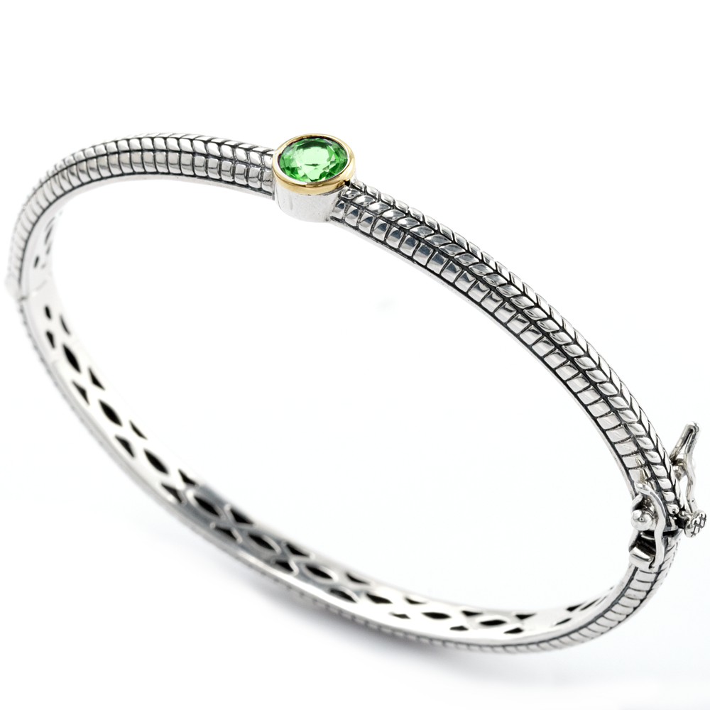 Peridot Bangle Set in Sterling Silver & 18K Gold Accents