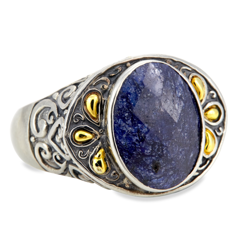 Blue Sapphire Sterling Silver Ring with 18K Gold Accents