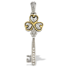Diamond Sterling Silver Key Pendant with 18K Gold Accents