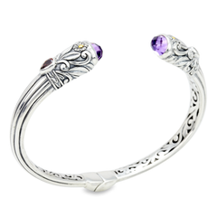Amethyst and Garnet Sterling Silver Bangle with 18K Gold Accents