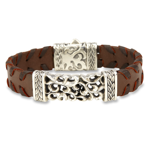 Leather Band Silver Bracelet