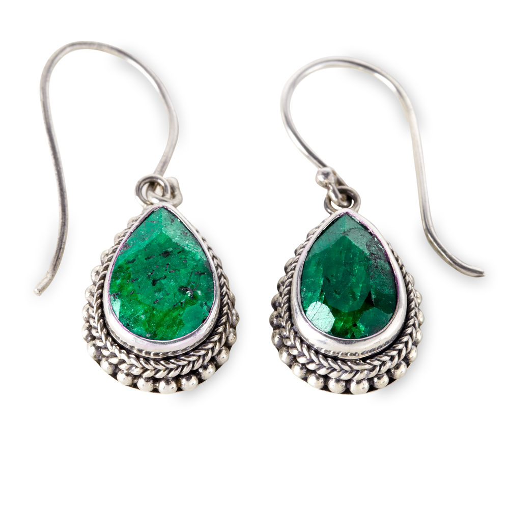 Emerald Pear Shape Sterling Silver Earrings