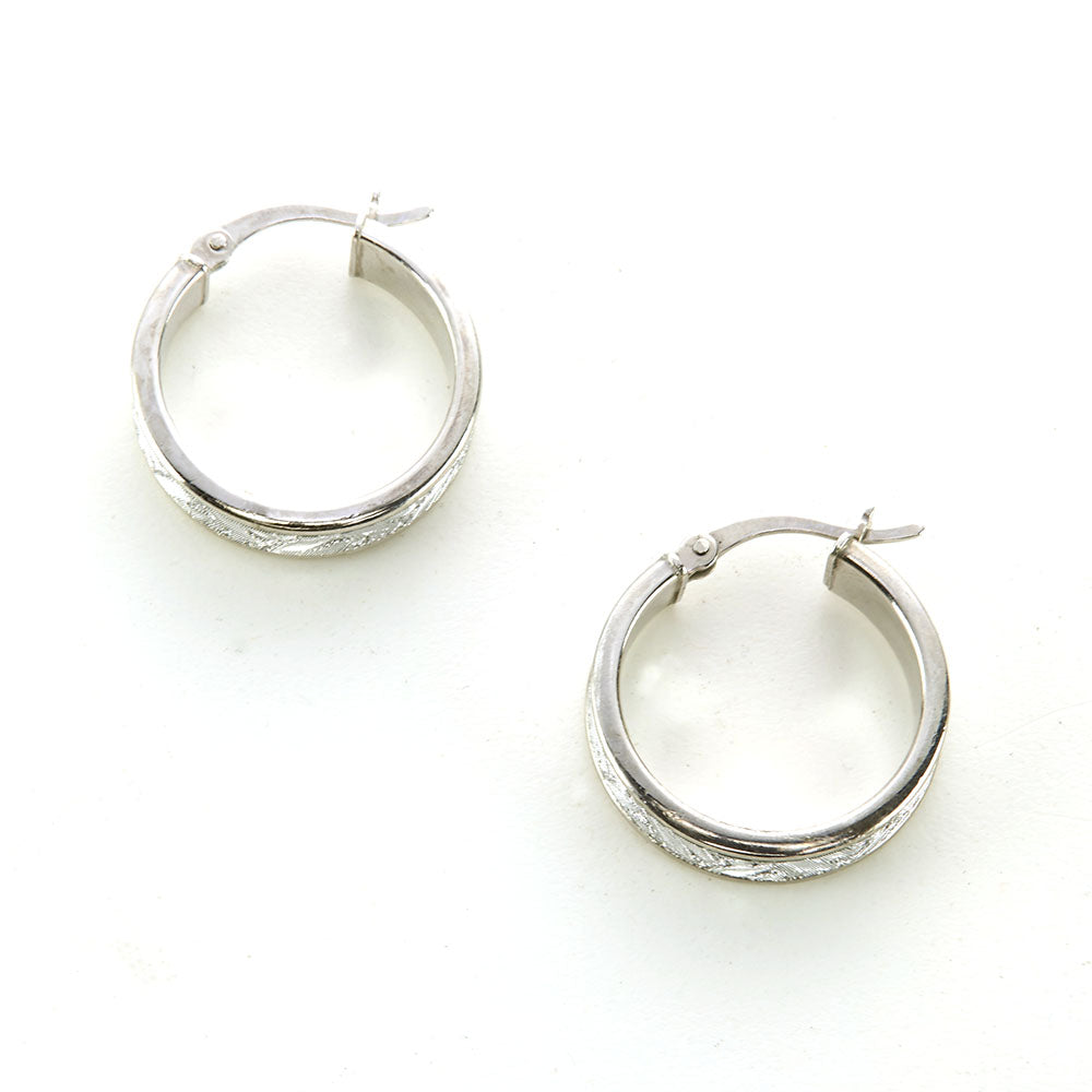 "Silver Rhodium Finish ""Tiger Stripe"" Pattern Hoop Earrings"