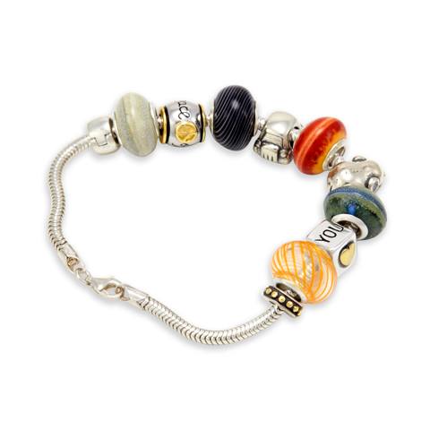 Colored Glass Bead Sterling Silver Charm Bracelet with 18K Gold Accents